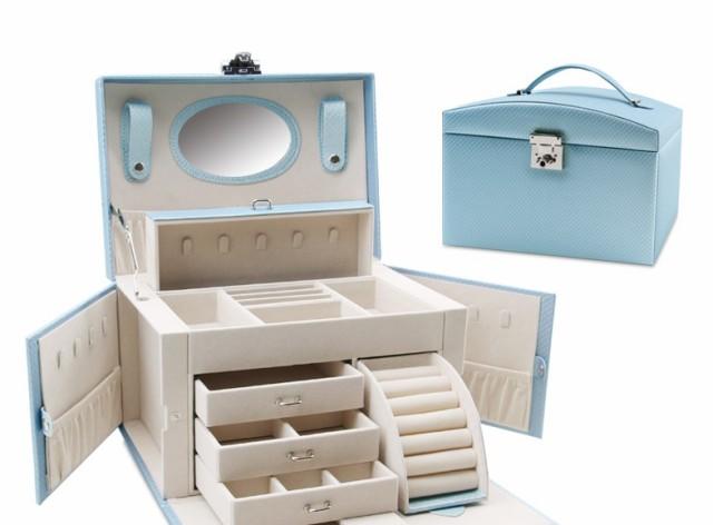 大容量ジュエリーボックス ミラー付き アクセサリー ボックス