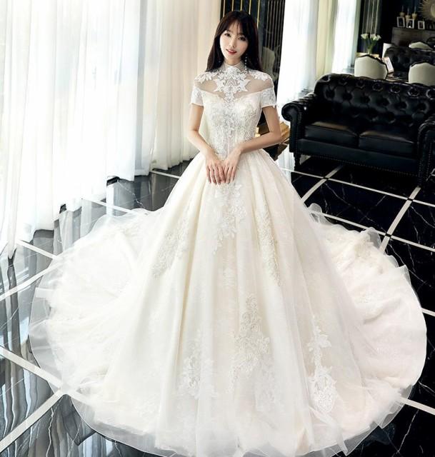 4405b9b5f81fa 刺繍 ハイネック 半袖 Aライン ウェディングドレス 白 二次会 花嫁 ウェディング ドレス ショップ 激安 袖あり