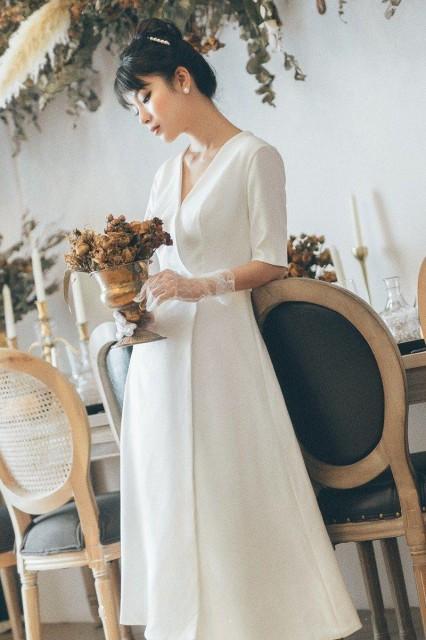 6a803f09deff3 ウェディングドレス カラードレス ウェディングドレス 大きいサイズ ウェディングドレス 白 二次会 花嫁 ウェディングドレス ミモレ