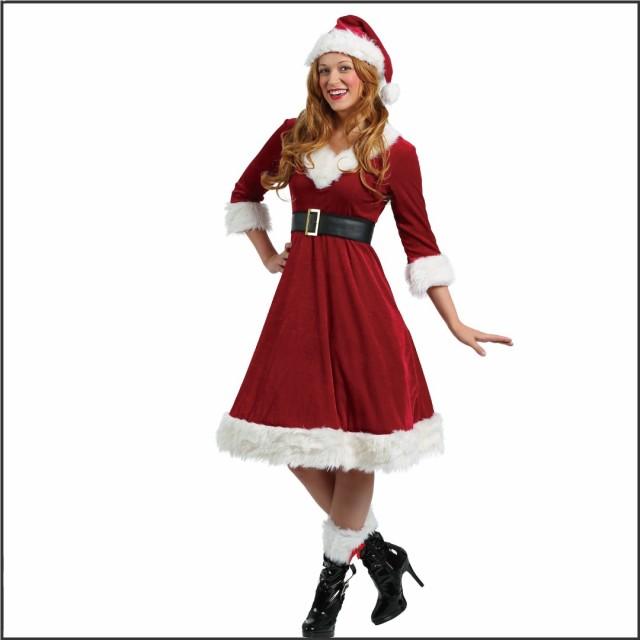 サンタクロースのコスチューム クリスマス コスプレ サンタクロース 膝丈ワンピース 仮装 パーティー イベント