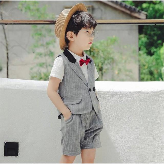 693cfb222f273 子供服 ベスト スーツ 男の子 シャツ 3点セット 発表会 フォーマル 半袖 半ズボン 演出