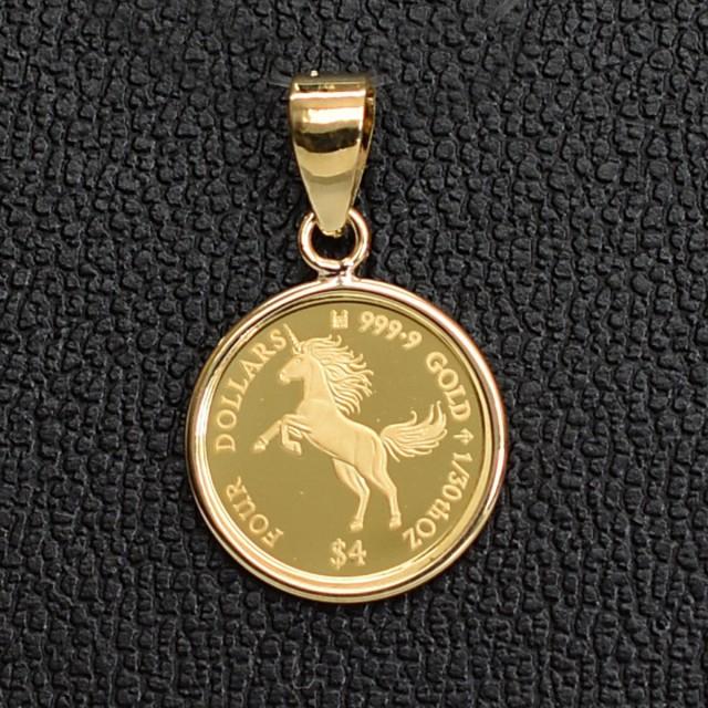 ユニコーン Unicorn×エリザベス女王 1/30オンス(純金) コイン ペンダントトップ