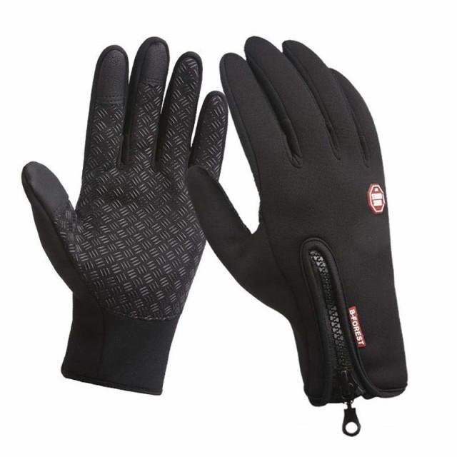 ac9f006b927a27 タッチパネル手袋 サイクルグローブ 滑り止め チャック付き スマホ対応 撥水 防寒 防風 手袋 スポーツ