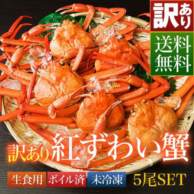 ≪訳あり≫送料無料 鳥取県 境港産 ボイル 紅ずわい蟹 カニ 蟹 訳あり 5尾SET【紅ずわいW5尾】