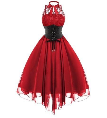 2018新作 ファッション ゴシック クロスバック ドレス ノースリーブ コルセットスイング ローブドレス ゴスロリ パーティにも