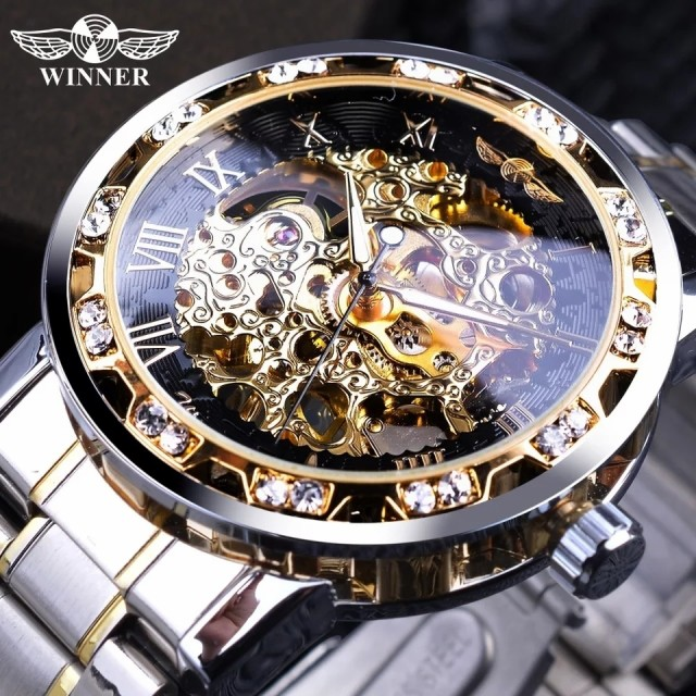 スケルトン 機械式 腕時計 日本未発売 メンズ 高級デザイン ゴールド ダイアモンド風 1089-2【領収発行可】