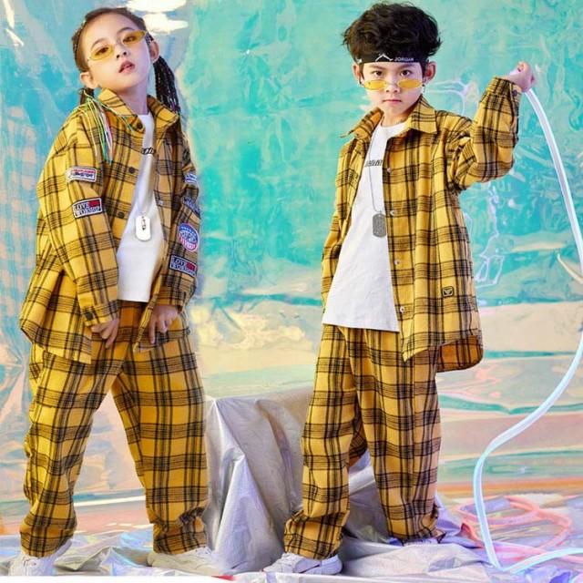 キッズダンス衣装 ヒップホップ HIPHOP 子供 チェック柄パンツ サルエル 長袖シャツ 女の子 ダンス衣装 ジャズダンス ス