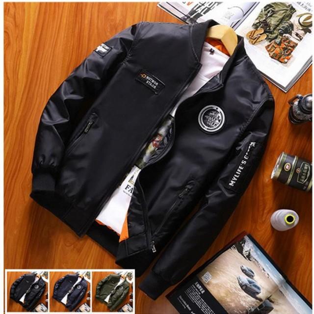 25507192a9f5e5 メンズ ジャケット ミリタリージャケット フライトジャケット スプリングジャンパー 立て襟 防風 春物ジャケット