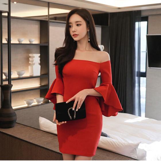 04e9ea894aa47 オフショルダー ワンピース タイトワンピ ミニ丈 7分袖 レッド 赤 上品 お呼ばれ ドレス ドレス