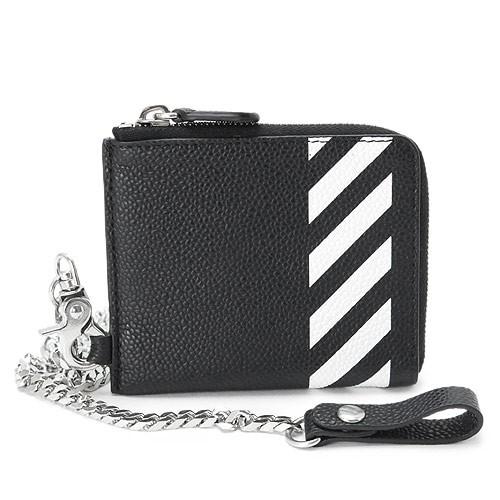 025fd8921dbf オフホワイト 財布 メンズ OFF WHITE ウォレットチェーン付き レザー ブラック×ホワイト OMNC013R19C44032 1001 2019