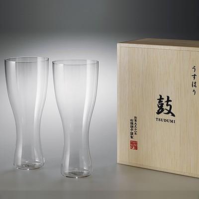 松徳硝子 うすはり 鼓 ビールグラス (木箱入り)...