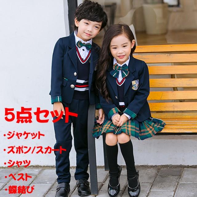 4acf28eb75ae4 フォーマル ジャケット スーツ 男の子 女の子 5点セット 子供服 ベスト スカート キッズ 制服 入園式