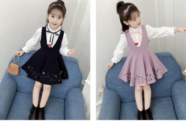 d4e02484a549e 韓国子供服 女の子 2点セットおしゃれ Tシャツ&吊りスカート キッズ ファッション感