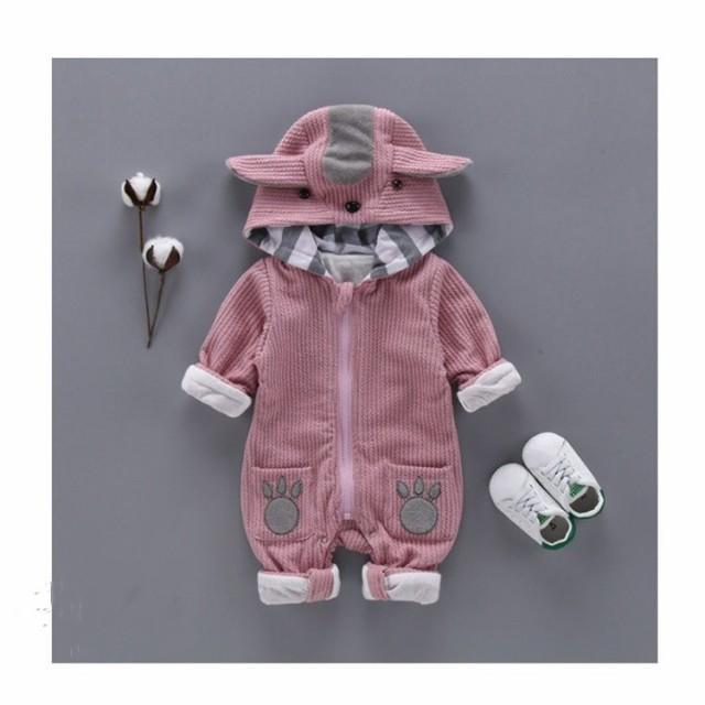 ddc3dfddef205 長袖 ロンパース 防寒着 つなぎ 新生児 幼児 耳付き かわいい カバーオール ジャンプスーツ ベビー服 赤ちゃん 百
