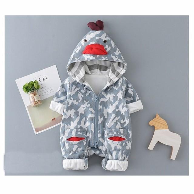 2101042999230 長袖 ロンパース 防寒着 つなぎ 秋 新生児 幼児 動物柄 かわいい カバーオール 女の子 男の子 ジャンプスーツ