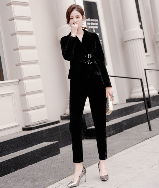 f53b349c4b4ef 結婚式のパンツスタイル パンツドレス スキニー 長袖 20代 30代 黒 ブラック ベロア