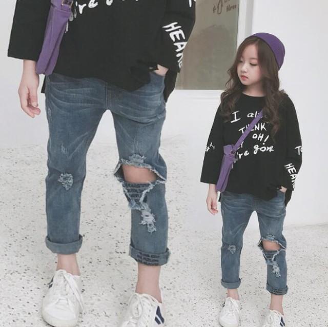 92a32e2fcd517 韓国子供服 女の子 デニムパンツ100 110 120 130 140 150cmストレッチ ...