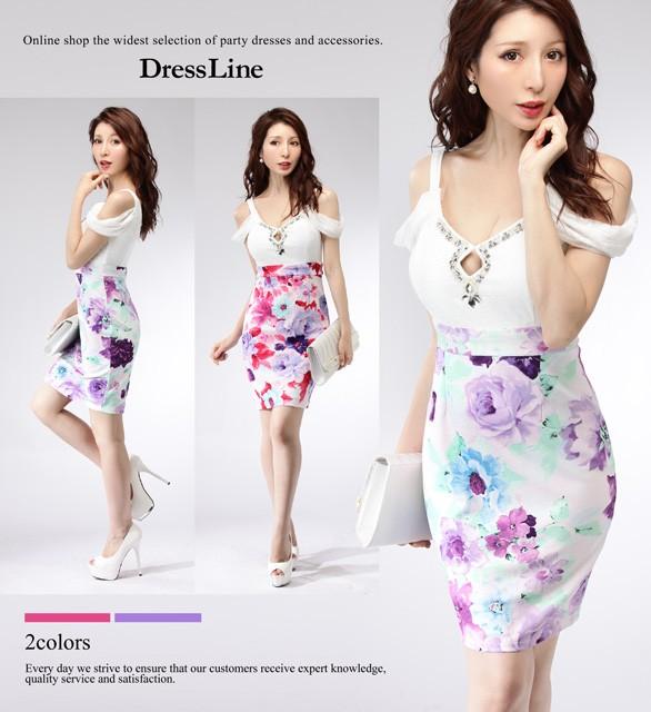 abcbc09cbf83b  2サイズ オフショルダー フラワープリントスカート ドッキング ワンピース ドレス キャバドレス 袖あり 大きいサイズ Lサイズ   の通販はWowma!