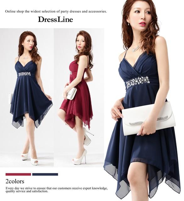 ea8c0430353f1  S〜2XLサイズ イレギュラーヘム フレアースカート シフォン ワンピース ドレス   キャバ