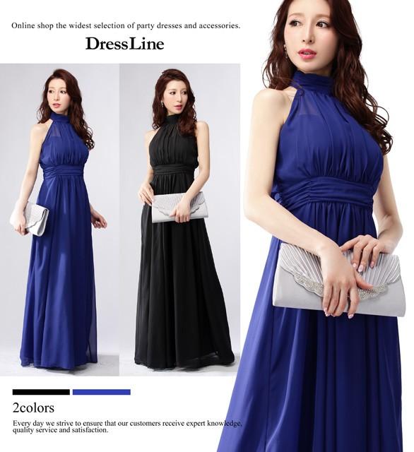 97806dc40ad31  S~2XLサイズ ハイネック シアーデコルテ シフォン フレア ロングドレス パーティー ドレス