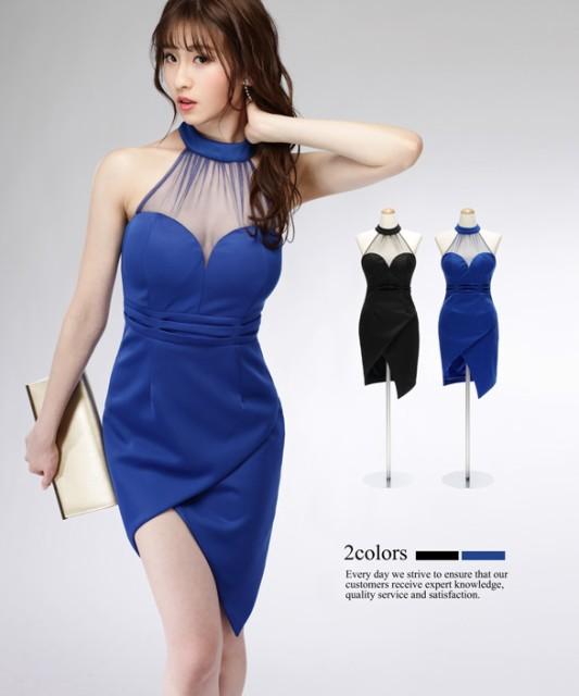 3f09283cc988a  2サイズ メッシュ透けデコルテ ハイネック アシンメトリースカート ワンピース ドレス キャバドレス 大きい