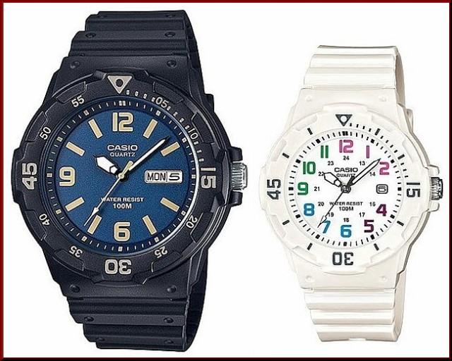 CASIO【カシオ/スタンダード】アナログクォーツ ペアウォッチ 腕時計 ラバー ブラック/ホワイト 海外モデル MRW-200