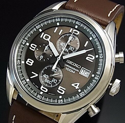 the best attitude 7df60 d4462 SEIKO/セイコー【クロノグラフ】メンズ腕時計 ブラウンレザーベルト ダークブラウン文字盤 海外モデル SSB275P1