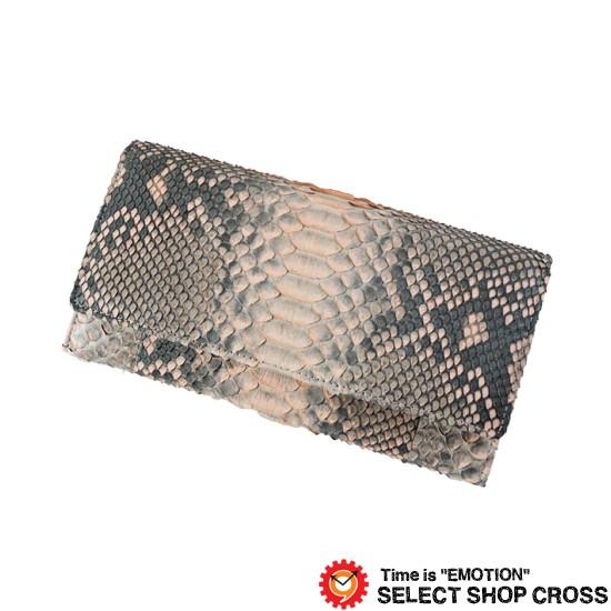639c77f2293a 高級天然皮革 長札/長財布 ヘビ革 パイソン Python Pink ピンク OKU6414 ...