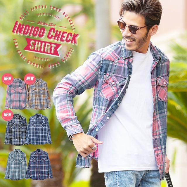 チェックシャツ デニムシャツ メンズ トップス 長袖 サーフ trend_d roshell JIGGYS / インディゴチェックウエスタンシャツ