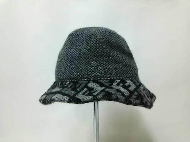 フェンディ FENDI 帽子 レディース グレー×黒 ウ...