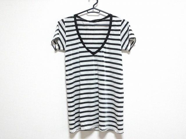 ナイン NINE 半袖Tシャツ レディース 美品 黒×白...