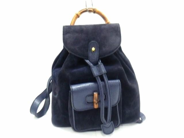 b06024b0dada グッチ GUCCI リュックサック レディース バンブー - 黒×ブラウン 巾着/ミニサイズ スエード×