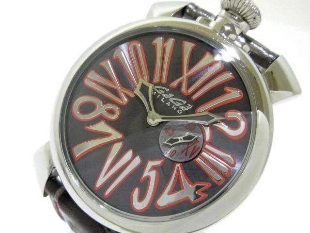 buy popular 71915 a5ad0 ガガミラノ GAGA MILANO 腕時計 マヌアーレ46 5084.2 メンズ 黒×レッド【中古】