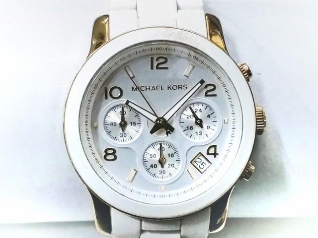 60b6b9568cbb マイケルコース MICHAEL KORS 腕時計 MK-5145 レディース クロノグラフ シルバー【中古】