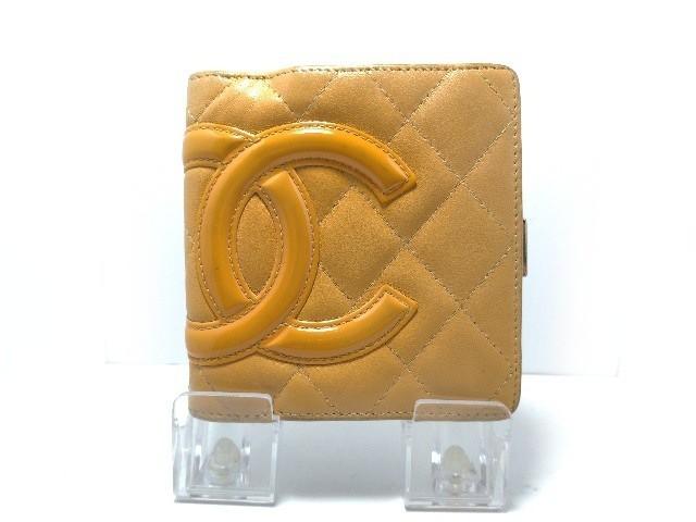 ce9088a19b82 シャネル CHANEL 2つ折り財布 レディース カンボンライン ベージュ×オレンジ がま口 ラムスキン×エナメル(レザー