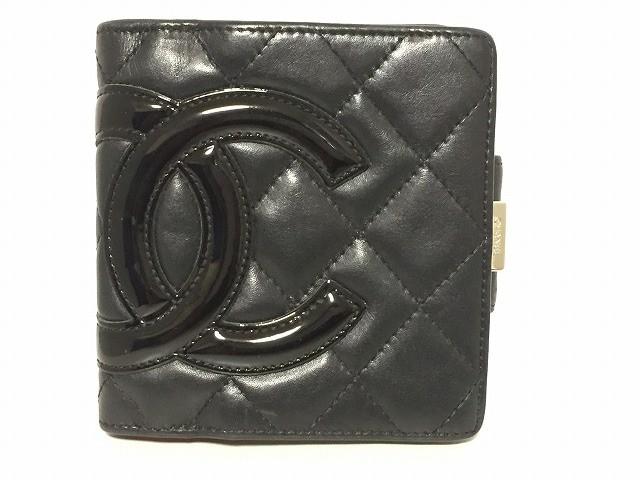 8cac48987c8a シャネル CHANEL 2つ折り財布 レディース カンボンライン 黒 がま口 レザー×エナメル(レザー)【