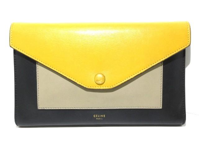 c6ca473771c5 セリーヌ 財布 レディース ラージフラップオンチェーン 1B.20MB 黒×イエロー×ベージュ チ