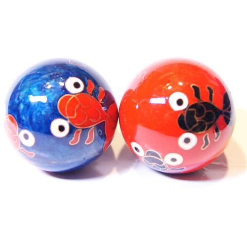 七宝健身球・金魚柄 赤青色 直径40mm