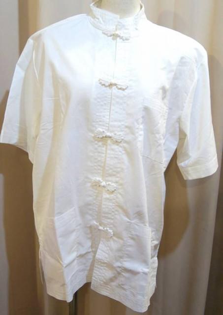 綿製 白色半袖カンフーシャツ(功夫シャツ)