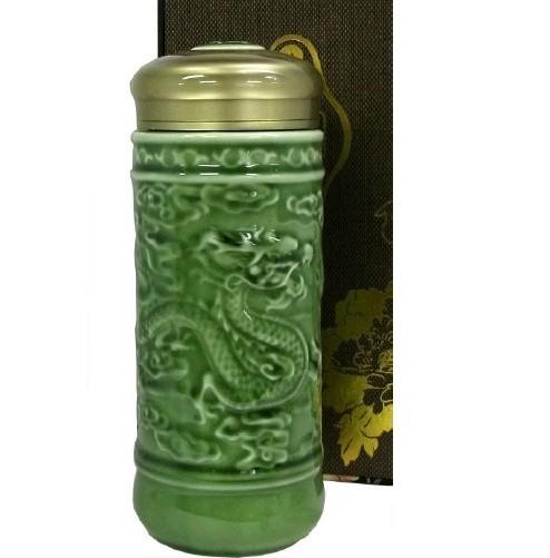 陶器製保温杯 「浮き龍画」保温マグボトル