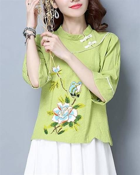 花柄配色レトロトップス ライトグリーン 2サイズ