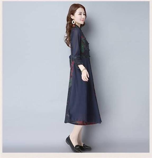 棉麻素材 ロングワンピチャイナドレス 風長袖マキ...