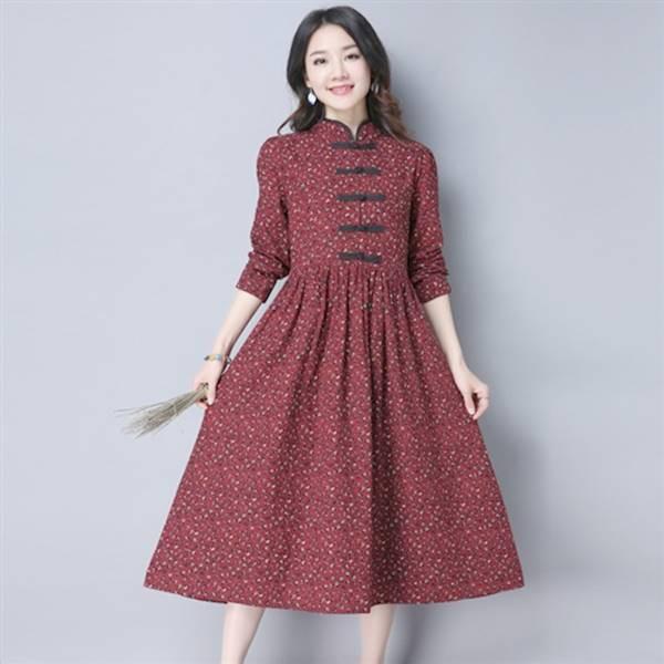 綿麻素材 ロングワンピチャイナドレス 風長袖マキ...