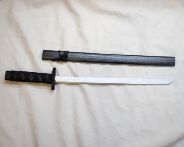 木製 日本刀 小刀 黒1