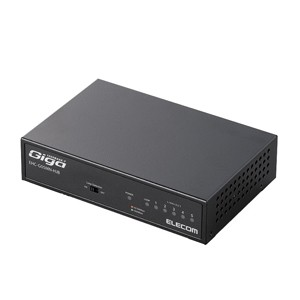 エレコム 5ポート スイッチングハブ (ブラック)(1000/100/10 Mbps対応)(メタル筐体/電源内蔵モデル)  EHC-G05MN-HJB【返品種別A】