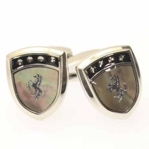 Selerisアワビ貝と銀の馬シールドデザインカフス