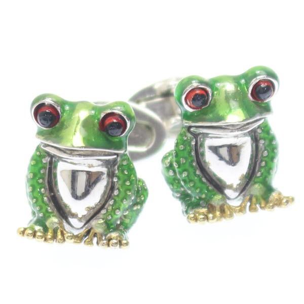 ちょこんとリアル・緑の蛙のカフス【JanLeslie】