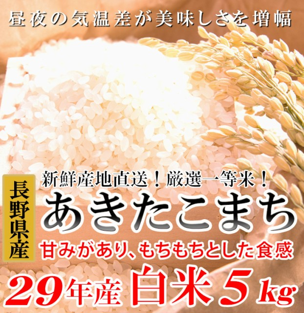 あきたこまち 白米5キロ 平成29年産 長野県産...