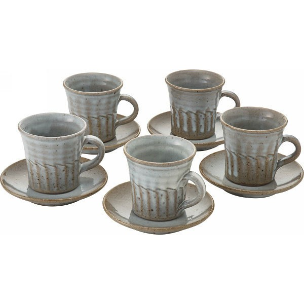 コーヒーカップ 信楽焼 白釉 碗皿5客揃陶器/C...