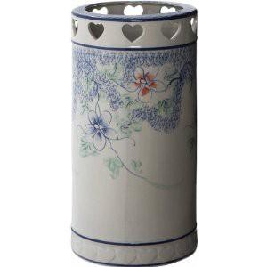 ホーム 陶器傘立て  花柄 U−09FC1